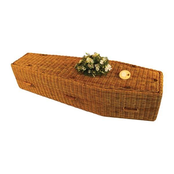 Traditional Golden Wicker Coffin