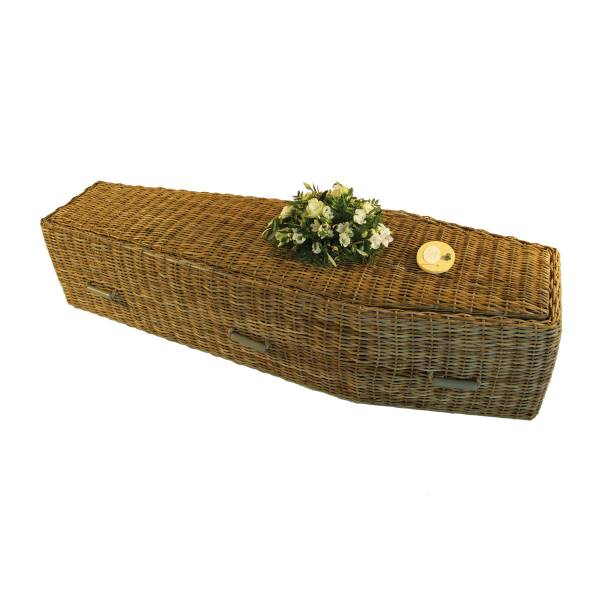 Traditional Grey Wicker Coffin